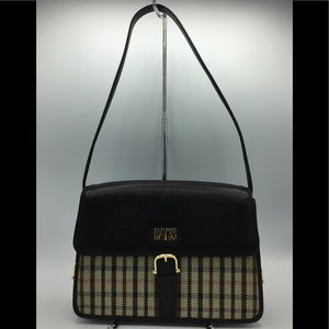 DAKS Check Plaid Black Leather Shoulder Bag